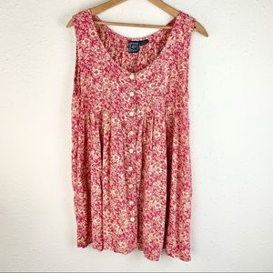 Ecote Floral Boho Button Down Summer Dress  Small
